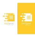 fast file logo combination Speed document vector image