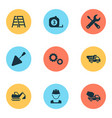 industry icons set collection of cogwheel vector image