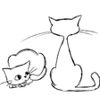 Sketched cats vector image