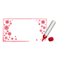 copy spacecwith snowflakes and 3d red felt-tip pen vector image