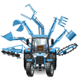 Tractor Multi Equipment vector image