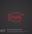 education outline symbol red on dark background vector image