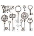 retro key logo design template antiques or vector image