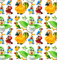 Seamless parrots with different color feathers vector image