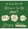 Set logos labels with natural fresh food sketch vector image