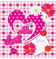 Romantic Card with heart and flowers vector image