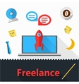 flat icons for freelance or business vector image