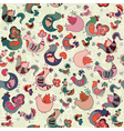pattern with birds hearts and flowers vector image