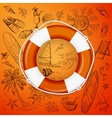 life buoy and hand draw icon vector image
