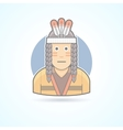 Icon of a Red Indian man an traditional cloth vector image