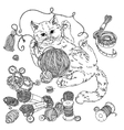 cat for needlework vector image