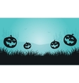 Silhouette of pumpkins and foggy Halloween vector image