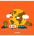 Caravaning near the tree Caravaning tourism vector image