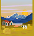 colorful drawing rural landscape template vector image