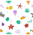 Seamless pattern with cute cartoon fish vector image