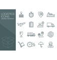 Transport icons thin line style flat vector image
