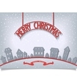 Merry Christmas card with red signboard lettering vector image