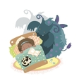 Monster sits at bed and frightened girl vector image