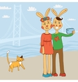 Cute couple of rabbits taking Selfie Photo On vector image vector image