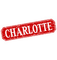 Charlotte red square grunge retro style sign vector image