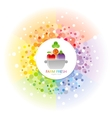 Fruit and vegetable logo in the centre of rainbow vector image