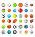 ball sports icon set cartoon style vector image