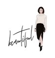 fashion sketch woman in knitted sweater and midi vector image