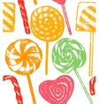 hand drawn colorful lollipop background vector image
