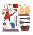 set of Cossacks objects icons and design vector image