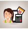 woman smartphone tax money vector image
