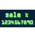 Green Neon Hologram Numbers Set Font Sale vector image