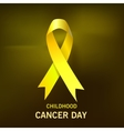 Childhood Cancer Day Yellow Ribbon on dark vector image