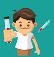 boy holding tube test with syringe vector image