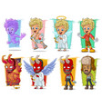 cartoon little cupid and red demon character set vector image