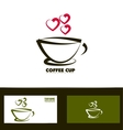 Coffee cup red heart logo vector image