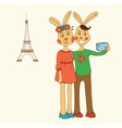 Cute couple of rabbits taking Selfie Photo On vector image
