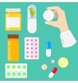 Pills vitamins and drug capsules in flat style vector image