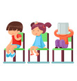 medical care sick children sitting on chairs vector image