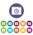 Video player set icons vector image