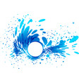splashing water with white circle frame vector image vector image