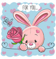 cartoon rabbit with flower vector image