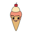 delicious ice cream kawaii character vector image