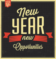 Vintage New Years Typographic Background vector image vector image