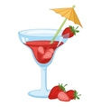 Glass with drink and strawberries vector image vector image