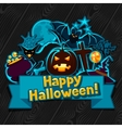 Happy halloween greeting card with stickers vector image vector image