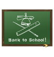 Green Wood school desks and hand-drawn chalk pictu vector image vector image