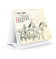 April 2014 desk horse calendar vector image