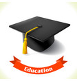 Education icon graduation hat vector image