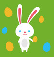 happy easter rabbit easter funny bunny with eggs vector image