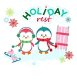 Holiday funny penguins vector image